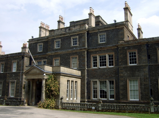 Bowhill House, a large old mansion with a fine interior in lovely gardens and landscaped grounds, held by the Scott Dukes of Buccleuch and located near Selkirk in the Borders in southern Scotland.