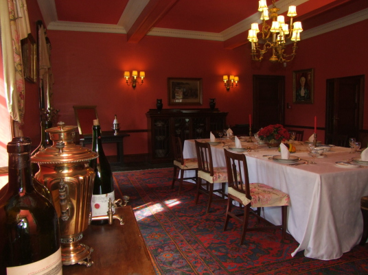 Dining Room, Braemar Castle is an impressive, embattled old tower house, built and owned by the Erskine Earls of Mar and used as a government garrison after the Jacobite Risings, located in a scenic mountainous location near Braemar in Aberdeenshire in no
