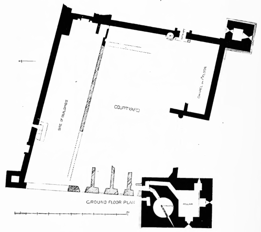 Plan, Spynie Palace, a castle despite its name, has one of the most impressive towers in Scotland, and was held by the Bishops of Moray who had their cathedral at Elgin in Moray in northeast Scotland.
