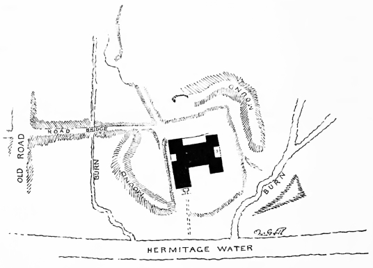 Plan, Hermitage Castle, a large, ruinous and brooding castle in a lonely and windswept spot, held by the Soulis family, the Douglases and then the Hepburns, near Newcastleon in the Borders near England.