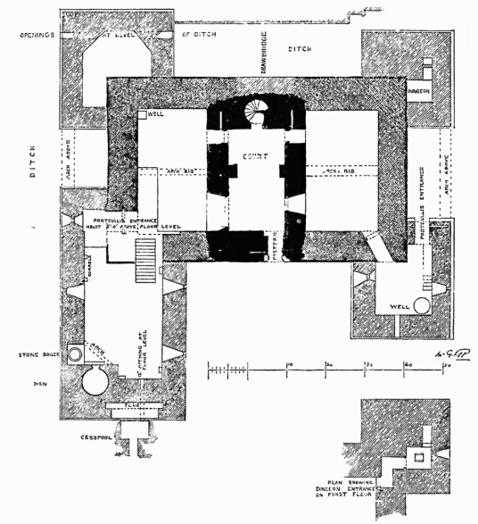 Plan of ground floor, Hermitage Castle, a large, ruinous and brooding castle in a lonely and windswept spot, held by the Soulis family, the Douglases and then the Hepburns, near Newcastleon in the Borders near England.