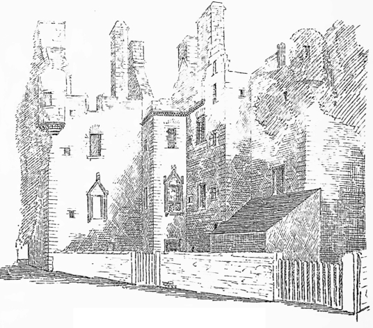 MacLellan's Castle, an impressive, large and once comfortable but now ruinous tower house of the MacLellan family, located in the historic burgh of Kirkcudbright in Dumfries and Galloway.