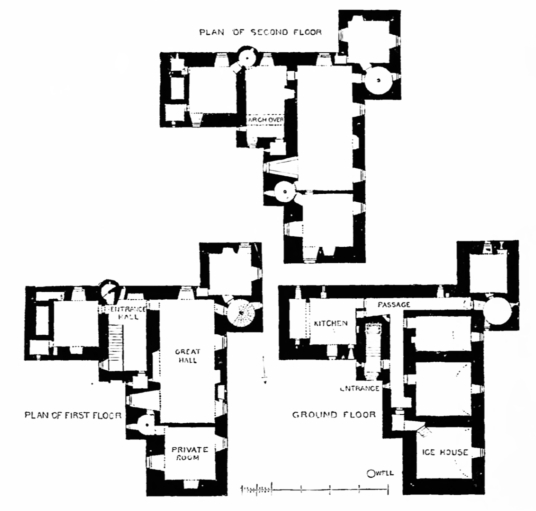 Plans, MacLellan's Castle, an impressive, large and once comfortable but now ruinous tower house of the MacLellan family, located in the historic burgh of Kirkcudbright in Dumfries and Galloway.