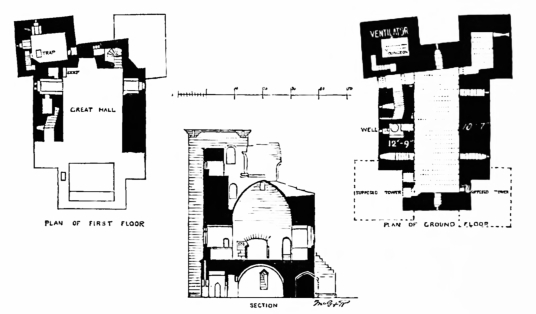 Plans and section, Crookston Castle is an unusually planned, tall and ruinous old tower in a quiet spot with fine views, held by the Stewarts of Lennox and once besieged by the great siege cannon Mons Meg, lying to the south of Glasgow in central Scotland
