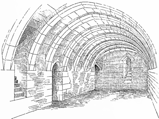Vaulted hall, Crookston Castle is an unusually planned, tall and ruinous old tower in a quiet spot with fine views, held by the Stewarts of Lennox and once besieged by the great siege cannon Mons Meg, lying to the south of Glasgow in central Scotland.