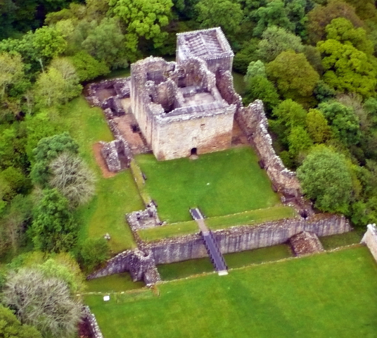 Aerial view of Craignethan Castle, a substantial artillery castle built the influential Hamilton family, now ruinous but with an impressive tower, fortifications and a ditch with a unique caponier, standing in a pleasant wooded location, near Lanark in