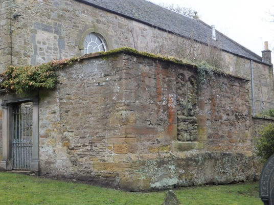 Cadell burial aisle, Tranent Parish Church, near Tranent Tower is a ruinous old tower house of the Seton family and then the Valance family, not far from the atmospheric parish church in a fine wooded setting with many old carved tombstones and a large do