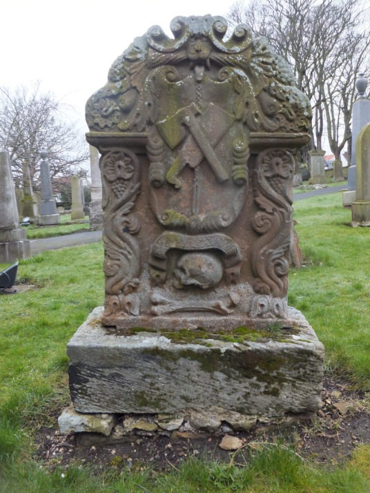 Gravestone, Tranent Parish Church, near Tranent Tower is a ruinous old tower house of the Seton family and then the Valance family, not far from the atmospheric parish church in a fine wooded setting with many old carved tombstones and a large doocot, at