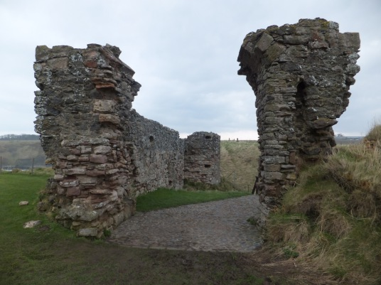 Outer gatehouse, Tantallon Castle, a spectacular ruinous castle of the Douglas Earls of Angus, located in a pretty cliff top location near the East Lothian seaside town of North Berwick.