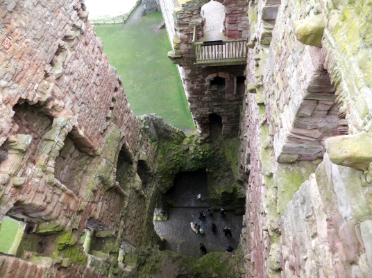 Central tower, Tantallon Castle, a spectacular ruinous castle of the Douglas Earls of Angus, located in a pretty cliff top location near the East Lothian seaside town of North Berwick.