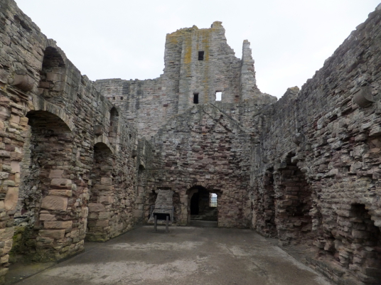 Hall, Tantallon Castle, a spectacular ruinous castle of the Douglas Earls of Angus, located in a pretty cliff top location near the East Lothian seaside town of North Berwick.