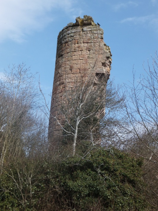 Tower/Keep, Roslin Castle, an impressive, partly ruinous old stronghold on a rock above the River Esk, long held by the Sinlcairs and near the beautiful and intricately carved Rosslyn Chapel