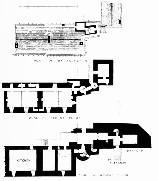 Plans of older part, Brodick Castle, a large and attractive old stronghold and later mansion, standing in a prominent spot in colourful gardens and grounds near Brodick on the island of Arran in western Scotland, and held by the powerful Hamiltons.