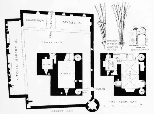 Plan, Auchindoun Castle, a large, impressive and conspicuous ruin in a prominent spot near Dufftown in Moray in northern Scotland, held by the Ogilvie and the Gordon families.