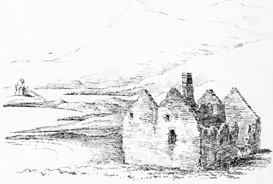 Calda House, Ardvreck Castle, a ruinous old stronghold of the MacLeods of Assynt, in a beautiful spot on the banks of Loch Assynt with the ruin of Calda House, a later house of the Mackenzies, nearby, near Inchnadamph, in Sutherland in the north of Scotla