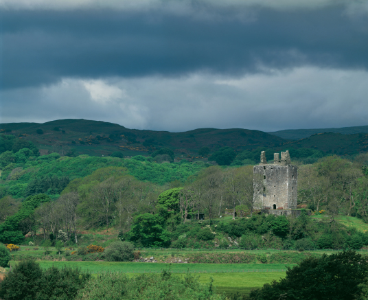 Cardoness Castle by Tom Wolf, a plain but impressive tower house, long held by the turbulent MacCullochs, in a prominent spot with a once comfortable interior, near Gatehouse of Fleet in Dumfries and Galloway.