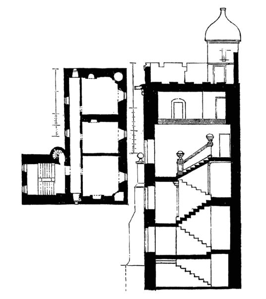 Plan and section, Niddrie Marischal was a large and impressive castle and mansion, long held by the Wauchopes, but demolished and replaced by a housing scheme, to the east and south of Edinburgh in central Scotland.