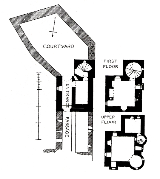 Plans, Gylen Castle, a compact but impressive tower house, built by the MacDougalls, in a beautiful spot overlooking the Firth of Lorn on the lovely island of Kerrera, near Oban in Argyll.