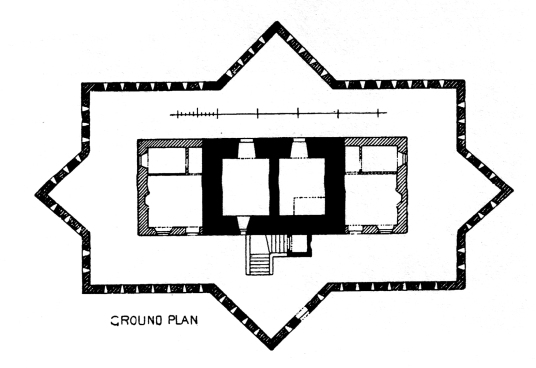 Plan, Corgarff Castle is an impressive old tower house, with later gun emplacements, held by the Forbeses and site of a famous massacre, in a impressive and mountainous location, some miles from Ballater in the Highlands of Scotland.