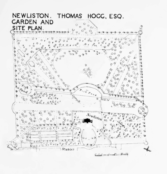 Plan of grounds, Newliston House is a fine Adam mansion, set in landscaped grounds near Kirkliston in West Lothian in central Scotland, and held by the Dundas family, the Dalrymples of Stair, and then the Hog family.