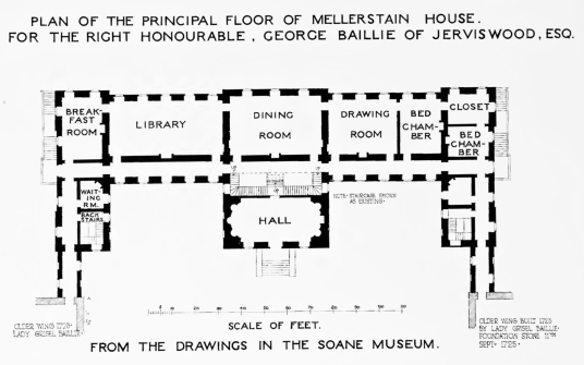 Plan of Robert Adam block, Mellerstain House, a fine castellated Adam mansion with a stunning and largely original Adam interior, set in beautiful gardens and expansive landscaped grounds.