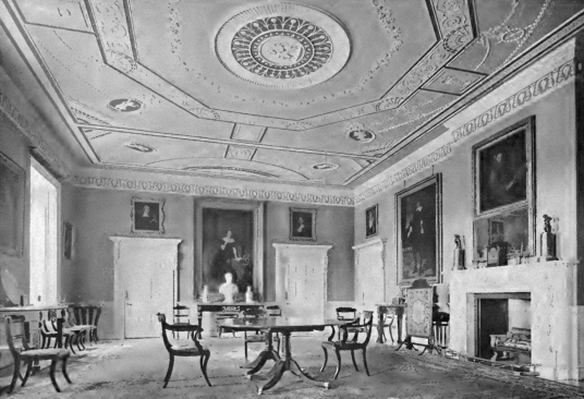 Music room (dining room), Mellerstain House, a fine castellated Adam mansion with a stunning and largely original Adam interior, set in beautiful gardens and expansive landscaped grounds.