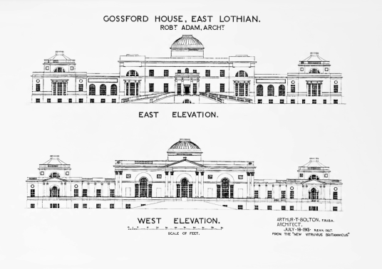 Original Adam elevations of Gosford House, the large and magnificent mansion of the Earls of Wemyss, set in fantastic landscaped grounds with pleasure grounds, woodland and ponds, standing near Longniddry in East Lothian in southeast Scotland on the banks