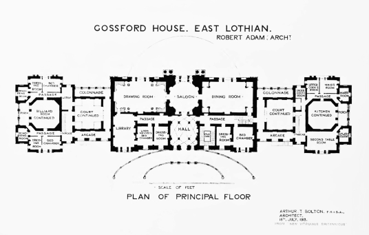 Original Adam plan of Gosford House, the large and magnificent mansion of the Earls of Wemyss, set in fantastic landscaped grounds with pleasure grounds, woodland and ponds, standing near Longniddry in East Lothian in southeast Scotland on the banks of th
