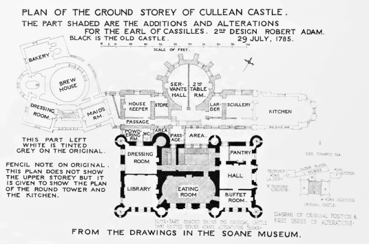 Plan, Culzean Castle, a spectacular clifftop mansion with an impressive interior, incorporating an old castle of the powerful Kennedys of Cassillis, in fine landscaped gardens and grounds by the sea, near Maybole in Ayrshire in southwest Scotland.
