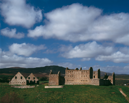 Ruthven Castle or Ruthven Barracks by Tom Wolf, the large ruin of a government barracks built on the earthworks of a much older castle, near Kingussie in the Highlands of Scotland.