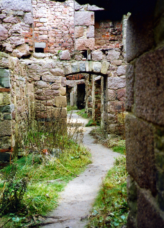 Slains Castle, the sprawling and magnificent ruin of a once splendid cliff-top castle and mansion of the Hay Earls of Errol, near Cruden Bay in the northeast of Scotland.