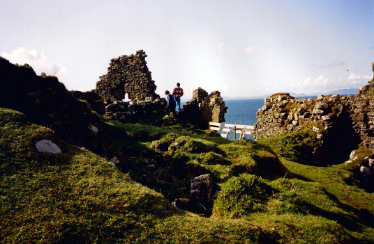 Duntulm Castle, a shattered and crumbling old stronghold, long held by the MacDonalds and said to be haunted by several ghosts, in a beautiful cliff top location overlooking the sea out to the Outer Hebrides, on the north of the island of Skye.