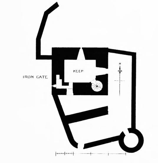 Plan of Breachacha Castle, a scenic old restored castle near the later mansion, of the MacLeans of Coll, by a beautiful sandy beach on the coats of the lovely and peaceful Hebridean island of Coll.