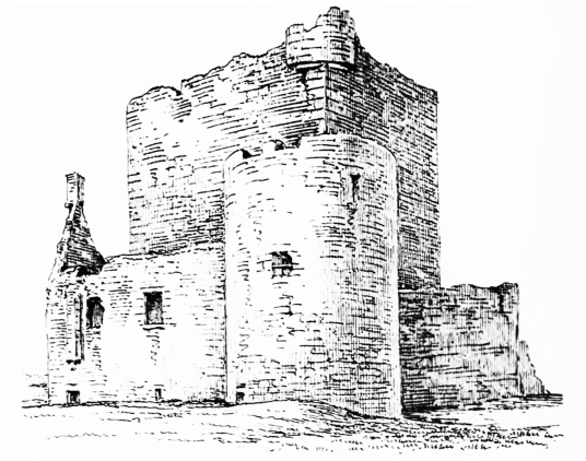 Breachacha Castle, then ruinous, a scenic old restored castle near the later mansion, of the MacLeans of Coll, by a beautiful sandy beach on the coats of the lovely and peaceful Hebridean island of Coll.