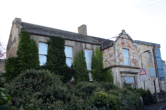 Harlawhill House, an old and derelict house, once held by the Hamiltons and then by the Fowlers, in Prestonpans in East Lothian in southeast Scotland.