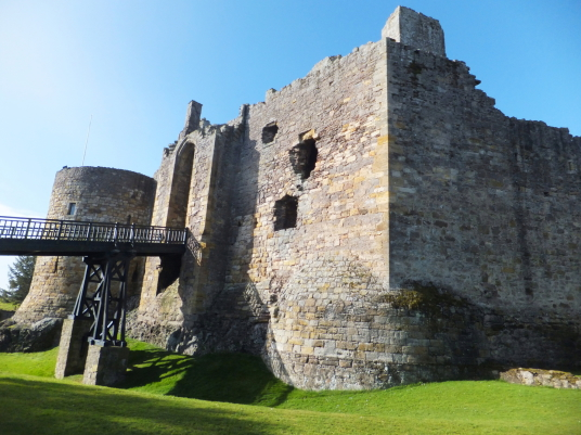 Dirleton Castle, a magnificent medieval ruined castle, near North Berwick in East Lothian in southeast Scotland