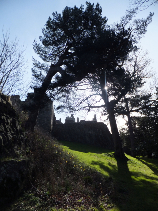 Dirleton Castle, a magnificent ruined medieval castle, near North Berwick in East Lothian in southeast Scotland