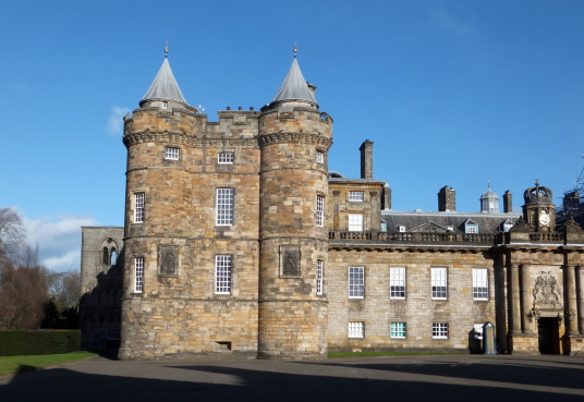 Palace of Holyroodhouse, a sumptuous royal residence, scene of the notorious murder of David Rizzio, secretary to Mary Queen of Scots, and still used by the present monarch Queen Elizabeth, at the foot of the famous Royal Mile in Edinburgh.