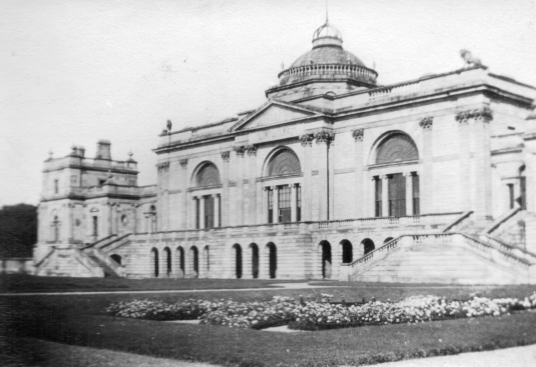 Old photo, Gosford House, the large and magnificent mansion of the Earls of Wemyss, set in fantastic pleasure grounds, woodland and ponds, standing near Longniddry in East Lothian in southeast Scotland on the banks of the Forth