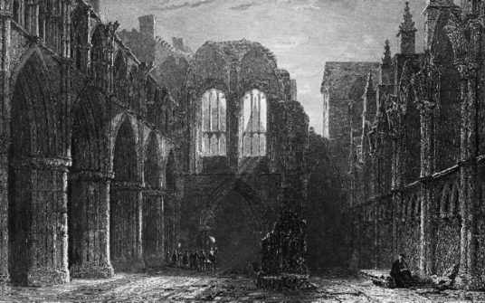 Holyrood Abbey church ruin, Palace of Holyroodhouse, a sumptuous royal residence, scene of the notorious murder of David Rizzio, secretary to Mary Queen of Scots, and still used by the present monarch Queen Elizabeth, at the foot of the famous Royal Mile
