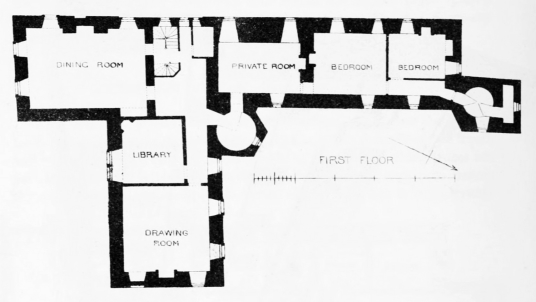 Plan of first floor, Kenmure Castle, a large overgrown ruin of a once splendid old stronghold and sumptuous mansion, long held by the Gordons of Kenmure and in a wooded spot near New Galloway in southwest Scotland.