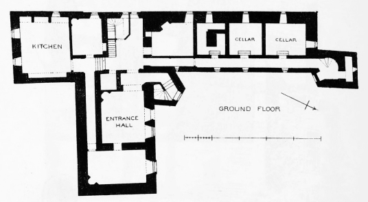 Plan of ground floor, Kenmure Castle, a large overgrown ruin of a once splendid old stronghold and sumptuous mansion, long held by the Gordons of Kenmure and in a wooded spot near New Galloway in southwest Scotland.