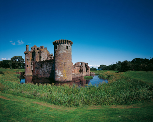 Caerlaverock Castle, an impressive and romantic old ruinous castle of the Maxwell family, near Dumfries in southern Scotland.