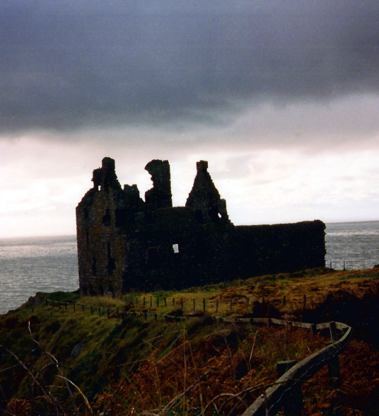 Dunskey Castle, an atmospheric, overgrown and crumbling ruin in an impressive spot on cliffs above the sea, held by the Adairs and the MacCullochs, and near Portpatrick in Galloway in the far south-west of Scotland.
