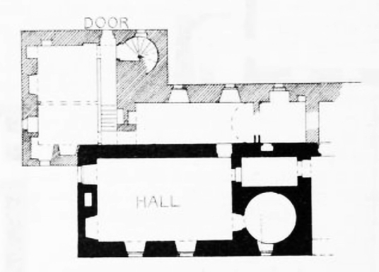 Plan, Redhouse Castle, an impressive ruinous tower house and courtyard, held by the Laings and then by the Hamiltons, near Longniddry in East Lothian .