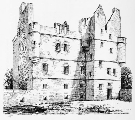 Redhouse Castle, an impressive ruinous tower house and courtyard, held by the Laings and then by the Hamiltons, near Longniddry in East Lothian .