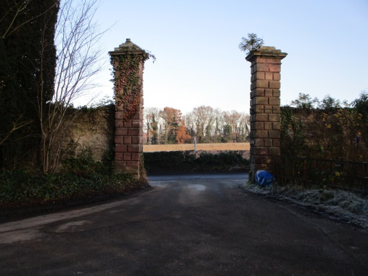 East gateway of Amisfield House, Haddington, once owned by the Earls of Wemyss of Gosford House, the large and magnificent mansion of the Earls of Wemyss, set in fantastic landscaped grounds with pleasure grounds, woodland and ponds, standing near Longnid