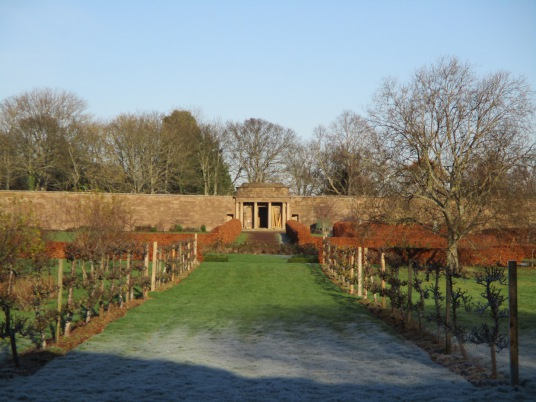 Walled garden of Amisfield House, Haddington, once owned by the Earls of Wemyss of Gosford House, the large and magnificent mansion of the Earls of Wemyss, set in fantastic landscaped grounds with pleasure grounds, woodland and ponds, standing near Longni