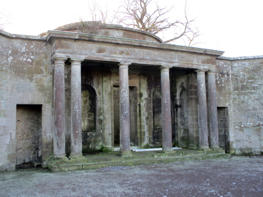 Pavilion, walled garden of Amisfield House, Haddington, once owned by the Earls of Wemyss of Gosford House, the large and magnificent mansion of the Earls of Wemyss, set in fantastic landscaped grounds with pleasure grounds, woodland and ponds, standing n