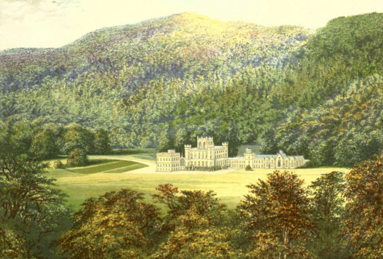 Taymouth Castle, an impressive baronial mansion on the site of an old castle of the Campbells of Breadalbane, in a picturesque spot near Aberfeldy in Perthshire.